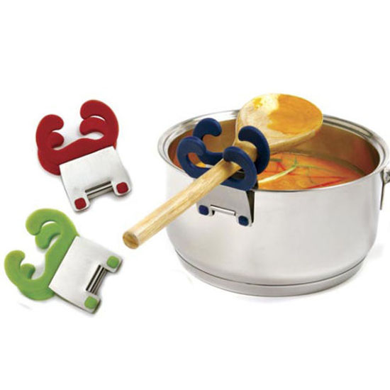 Silicone and stainless steel spoon holder pot clip