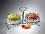 Two Dips On Ice Bowl sets complete with stylish,heavy guage chromed metal caddy.