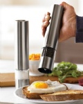 Stainless steel electric pepper mill set